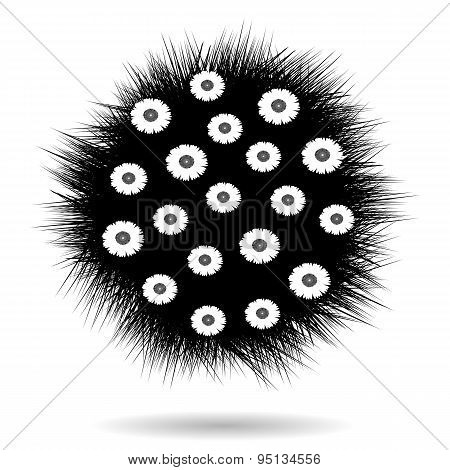 Black Ball With Grass And Flowers