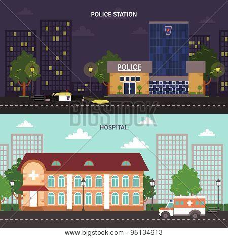 Urban landscape horizontal banners set