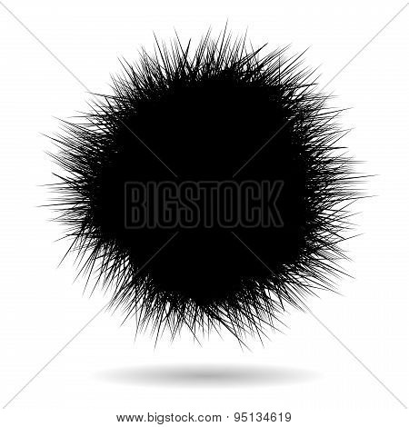 Black Grass Ball On White Background