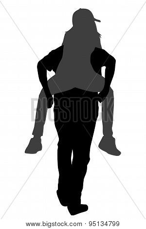 Silhouettes Of Young Male Carrying His Girlfriend Piggyback