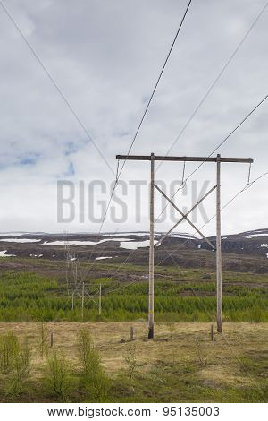 Electric Pole Near The Mountain