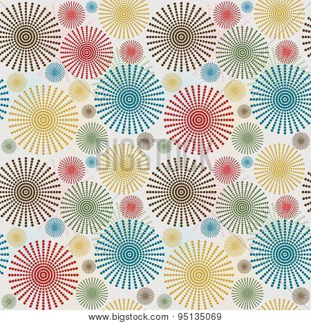 Vintage Seamless Background With Dotted Flowers