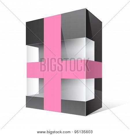 Black Realistic Package Cardboard Box