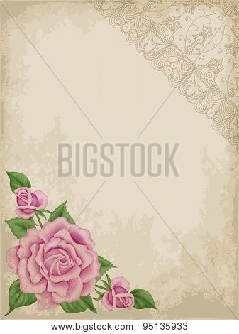 Old Paper Background With Roses