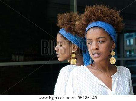 Young Afro American Woman In A Mirror.