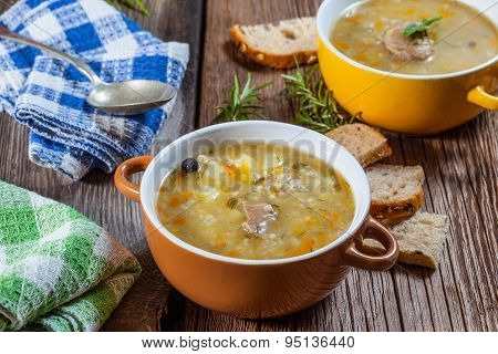 Soup With Buckwheat And Vegetables.