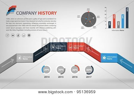 Timeline & Milestone Company History Infographic In Vector Style (eps10)