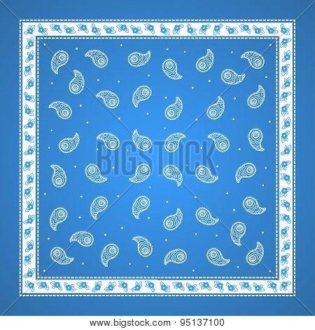 Blue Paisley Bandana simple pattern