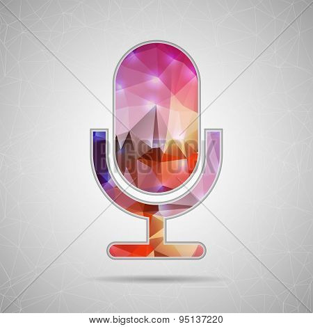 Abstract Creative concept vector icon of microphone for Web and Mobile Applications isolated on back