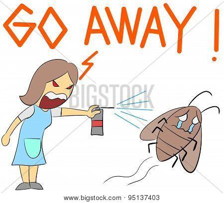 cartoon illustration rage yelling go away