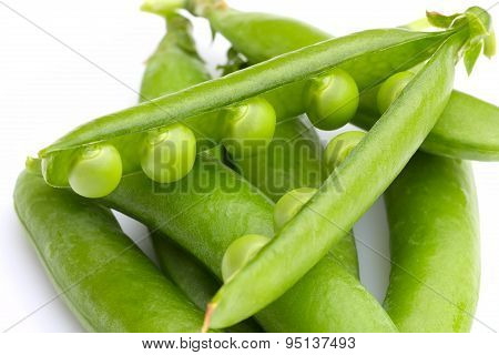 Pea Pods On A White Background