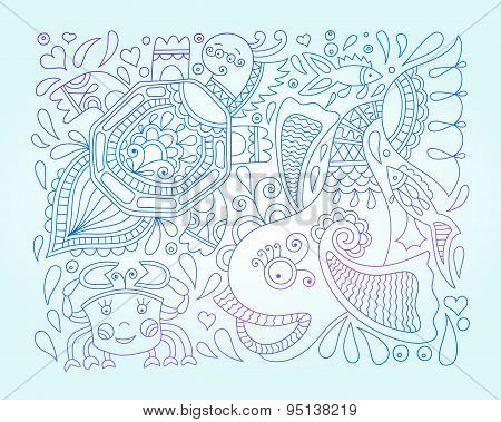 vector illustration of decorative sea animals