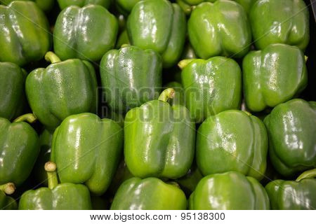 neatly folded green bell peppers