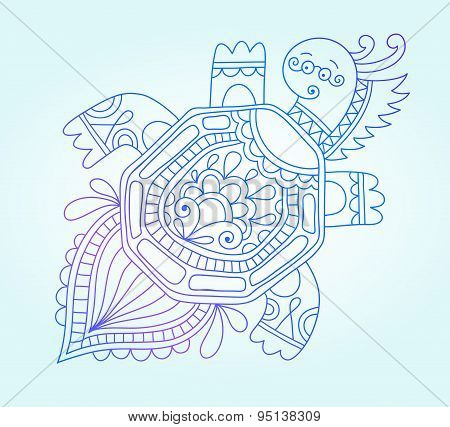 blue line drawing of sea monster, underwater decorative tortoise