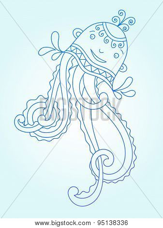 blue line drawing of sea monster, underwater decorative medusa
