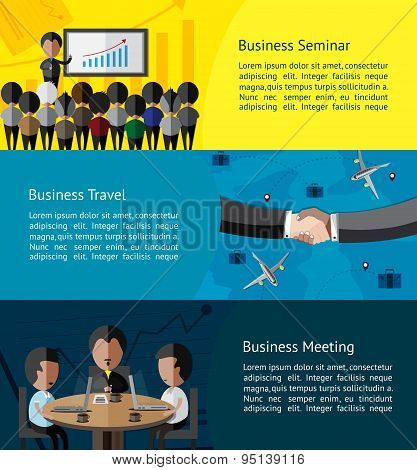 Business Infographic Activities Banner Of Businessman And Businesspeople Doing Seminar, Meeting, And