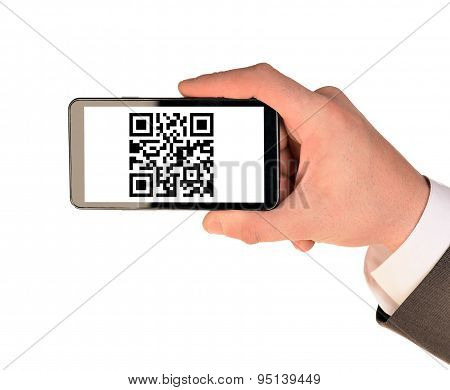 Businessmans hand holding smartphone on white