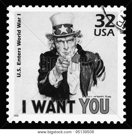 USA vintage postage stamp showing Uncle Sam