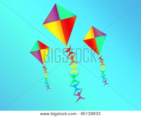 Rainbow Colored Kites With Mini Silhoettes On The Strings On Sky Blue Background