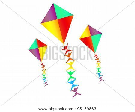 Rainbow Colored Kites With Mini Silhoettes On The String