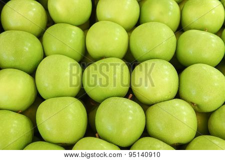 neatly folded green apples