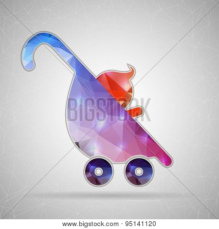 Abstract Creative concept vector icon of stroller for Web and Mobile Applications isolated on backgr