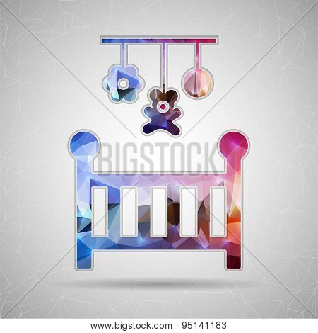 Abstract Creative concept vector icon of baby cot for Web and Mobile Applications isolated on backgr