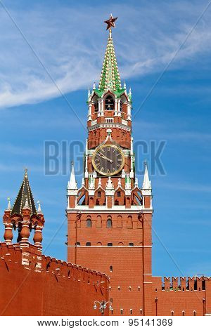 The Spasskaya Tower On Red Square In Moscow, Russia