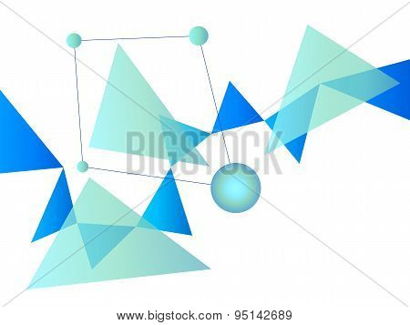 Blue And White Abstract Geometric Shape Vector Background With Spheres And Triangles On White