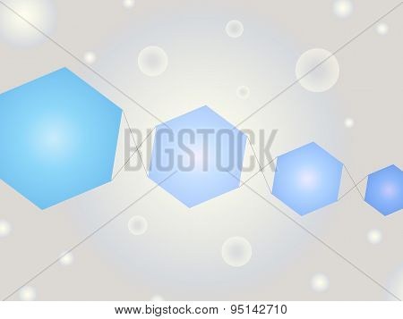 Abstract Geometric Shape Vector Background With Bubbles And Bright Blue Kite Like Hexagons