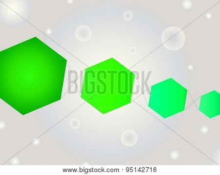 Abstract Geometric Shape Vector Background With Bubbles And Neon Green Kite Like Hexagons