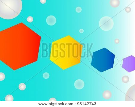 Fun Abstract Geometric Shape Vector Background With Bubbles And Kites In The Sky Feel