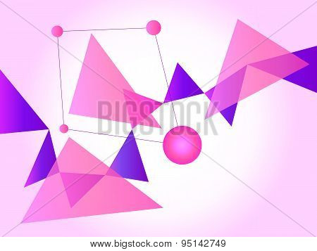 Pink And Purple Abstract Geometric Shape Vector Background With Spheres And Triangles On Gradient Pi