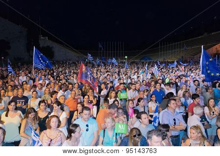 Athens, Greece, 3 July 2015. Greek demonstration in Athens.