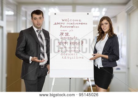 Businesspeople making presentation