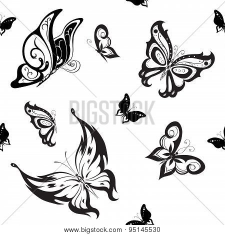 Background Of Abstract Butterflies Flying