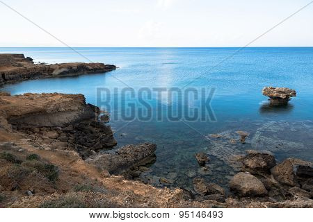 Rocky Sea Cost And Crystal Clear Waters Of Cyprus