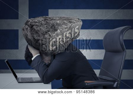 Stressed Worker With Rock On His Head