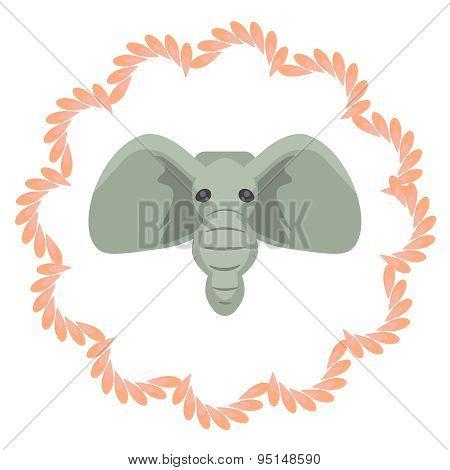 Elephant head vector cartoon illustartion. Grey african mammal in pink portrait frame