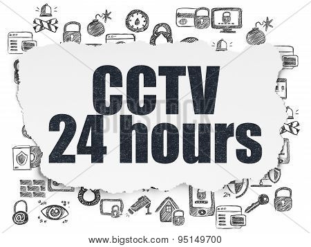 Safety concept: CCTV 24 hours on Torn Paper background