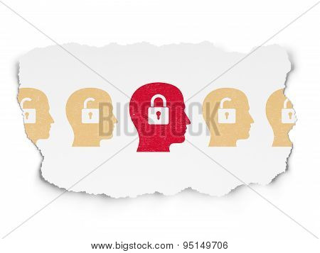 Protection concept: head with padlock icon on Torn Paper