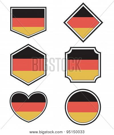 Set Of Germany Flags And Hearts