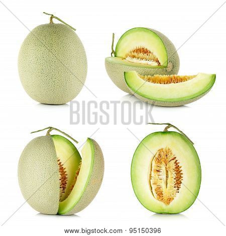 Collection Cantaloupe Melon Isolated On The White Background