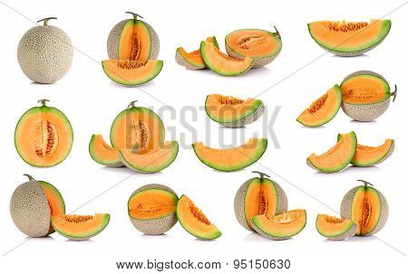 Collection Cantaloupe Melon Fruit Isolated On The White Background