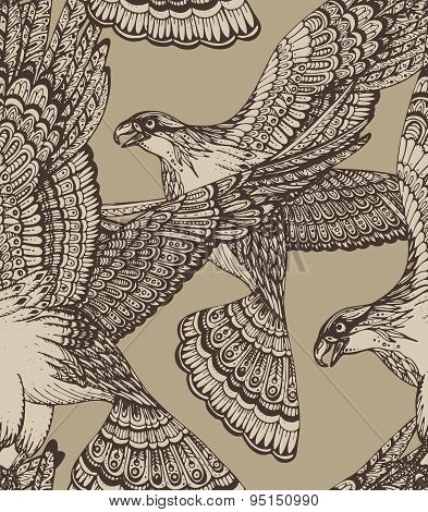 Vector Hand Drawn Seamless Pattern With Decorative Eagles