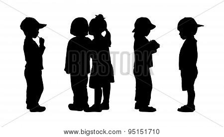 Children Standing Silhouettes Set 5