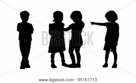 Children Standing Silhouettes Set 6