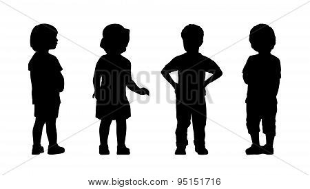 Children Standing Silhouettes Set 7