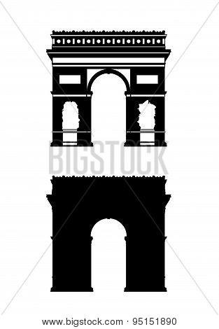 Paris Triumphal Arch Silhouettes Set