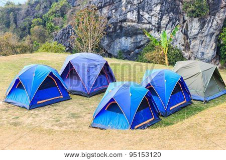 Dome Tents In Camping Site